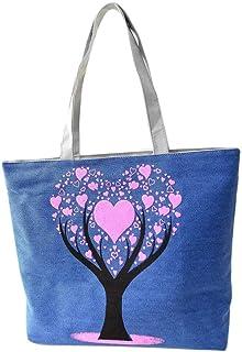 Wultia - Bags for WAMEN Fashion Cute Printing Women Canvas Bags Shoulder Bag Casual Handbag Bolsa Feminina Blue