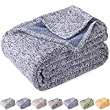 KAWAHOME Summer Knit Blanket Lightweight Breathable Fuzzy Heather Jersey Thin Blanket for Couch Sofa Bed Throw Size 50 X 60 Inches Blue and White