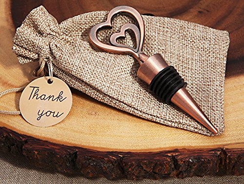 Cassiani Collection Copper Vintage Two Hearts Become One Bottle Stopper (50)