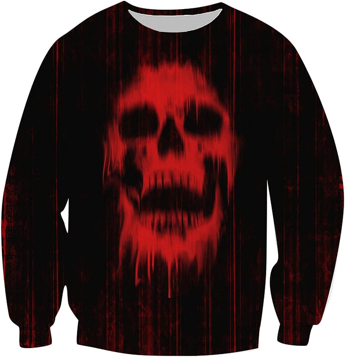 DBZ Men's 3D Print Realistic Skull Horror Pullover Long Sleeve Round Neck Sports Print Pullover