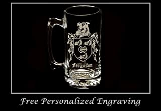 Ferguson Family Coat of Arms 27oz Beer Stein: Free Shipping & Personalized Engraving, Family Crest, Etched Clan Crest