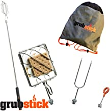 Grubstick | 4 Piece Kit | Telescopic Extendable Campfire Fireplace Skewer with Interchangeable Attachments | Great for Marshmallow S'Mores and Hot Dogs | Dishwasher Safe Heavy Duty Stainless Steel