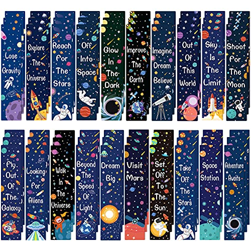 100 Pieces Bookmarks Inspirational Quotes Bookmark Colorful Bookmarks Charms Encouraging Page Markers for Reader Student, Home School Supplies, 20 Styles (Space Style)