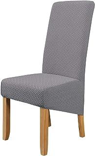 LiveGo Fundas de sillas de Comedor elásticas de tamaño Gran, 4 Piezas Fundas de sillas extraíbles Lavables para Comedor, Hotel, Banquete(Gris Claro)