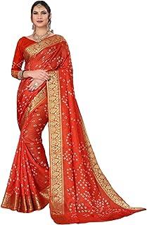 Indian Woman orange Bandhej Art Silk Zari weaving Festival Bandhani Printed Saree Blouse Sari 6317
