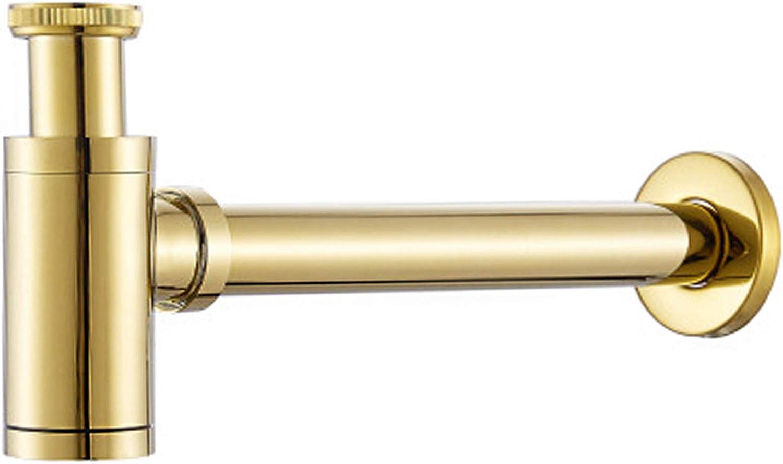 Sifón de diseño de latón redondo, altura ajustable, universal para tubo de drenaje de fontanería, tubo de desagüe para lavabo de baño, lavabo o recipiente
