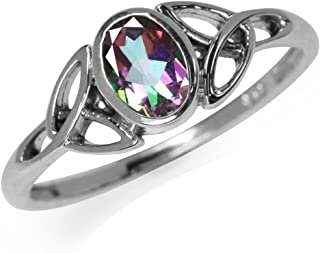 Silvershake 7x5MM Oval Shape Birthstone Gemstone 925 Sterling Silver Triquetra Celtic Trinity Knot Ring