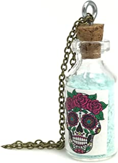 Day of The Dead Costume Necklace, Sugar Skull Jewelry, Steampunk Pendant, Goth Necklace for Women, Men