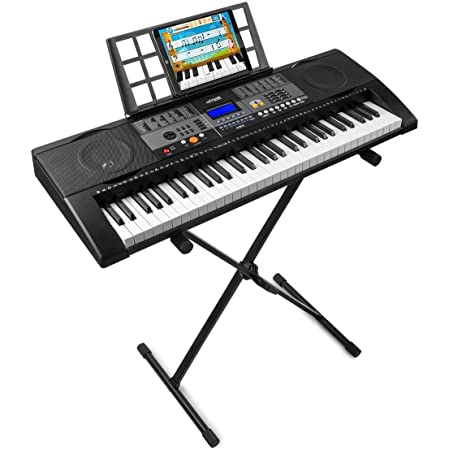 MAX KB3 Teclado Electrónico piano de 61 teclas con función Touch + Soporte de suelo