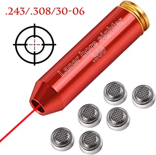Gogoku Bore Sight for .308 .243 30-06 7mm-08 Cartridge Hunting Red Laser Boresighter with 2 Sets of Batteries