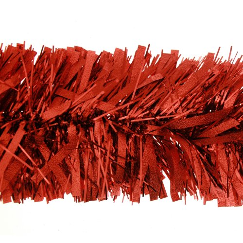 2m (6.5ft) Deluxe Thick Chunky Wide Red Shiny Christmas Tree Tinsel Garland with Embossing Decoration