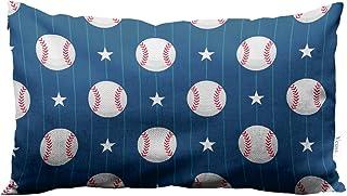 يوس رمي وسادة رياضي البيسبول عشاق البيسبول ، كرات بيسبول واضحة على زرقاء القطن الكتان أغطية وسادات مستطيلة القياسية للأريك...