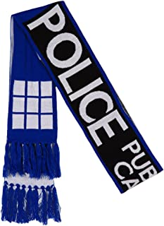 Doctor Who Scarf - TARDIS Police Call Box Fringed Knit Scarf