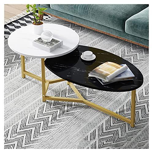 Escritorio de estudio Mesa de cóctel resistente de mesa de café de 2 capas, utilizado en la sala de estar, dormitorio, sofá, mesita de té de mesa, estantería de almacenamiento abierto industrial Mesa
