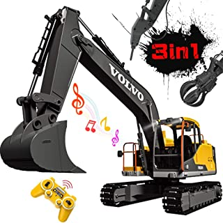 DOUBLE E Volvo RC Excavator 3 in 1 Construction Truck 17 Channel 1/16 Scale Full Functional with 2 Bonus Tools Remote Control Excavator Construction Tractor