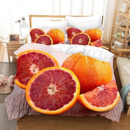 Meimall Fundas Nórdicas Cama Microfibra - Rojo Fruta Naranja 180X220 Cm Impresión Digital 3D...