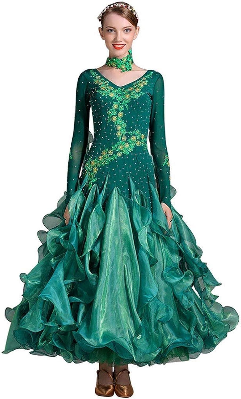GLJJQMY Dance Wear Performance Clothing National Standard Dance Costume Women's Diamond Competition Suit Waltz Performance Clothing Dance Dress (color   Dark Green, Size   M)