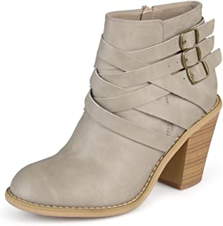 Journee Collection Women's Multi Strap Ankle Boots Stone, 9 Wide Width US