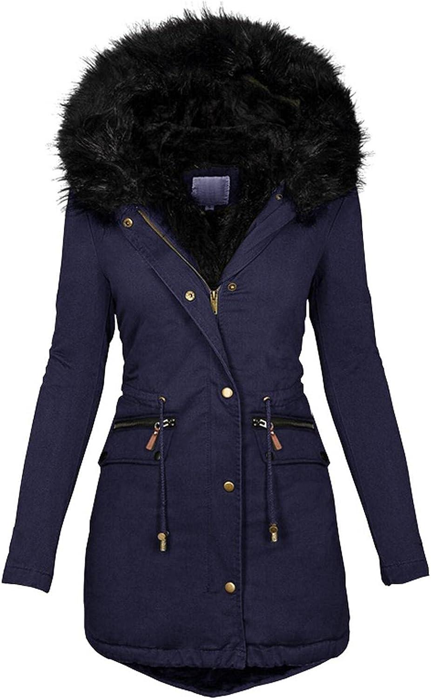 Women's Faux Fur Trench Coat Plus Size Wool Lined Windproof Jacket Coat Solid Thick Winter Warm Slim Overcoat Outwear