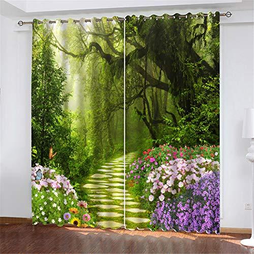 SSWJT Gardinen Märchenwelt Motiv Vorhang für Wohnzimmer transparent mit Ösen Ösenschal dekoschal Voile 245x 140 cm (H x B) 2er Set