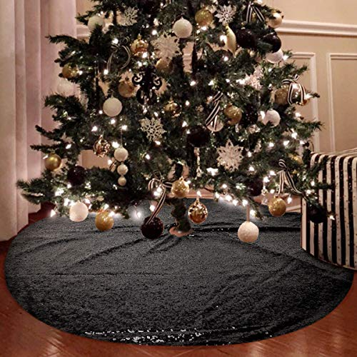 yuboo Black Christmas Tree Skirt, 48 Inch Sequin Double Layers Xmas Tree Mat for Holiday Decorations