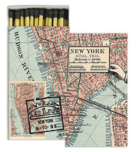HomArt New York Map Large Decorative Matches Set of 3 matchboxes
