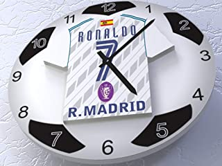FanPlastic Cristiano Ronaldo 7 CF Real Madrid Legends Edition - European UEFA Champions League Soccer Ball Wall Clock