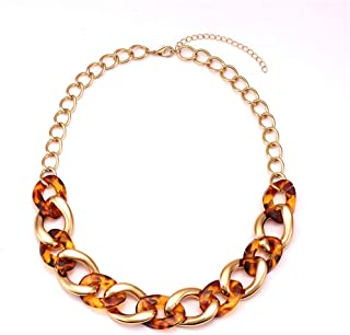 LIAO Jewelry Chain Necklace for Women Twist Bib Chunky Collar Necklaces Statement Resin Acrylic Choker Necklace