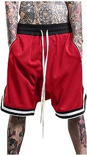 iYYVV Fashion Mens Street Basketball Shorts Elastic Mesh Pocket Casual Sport Stripe Pant
