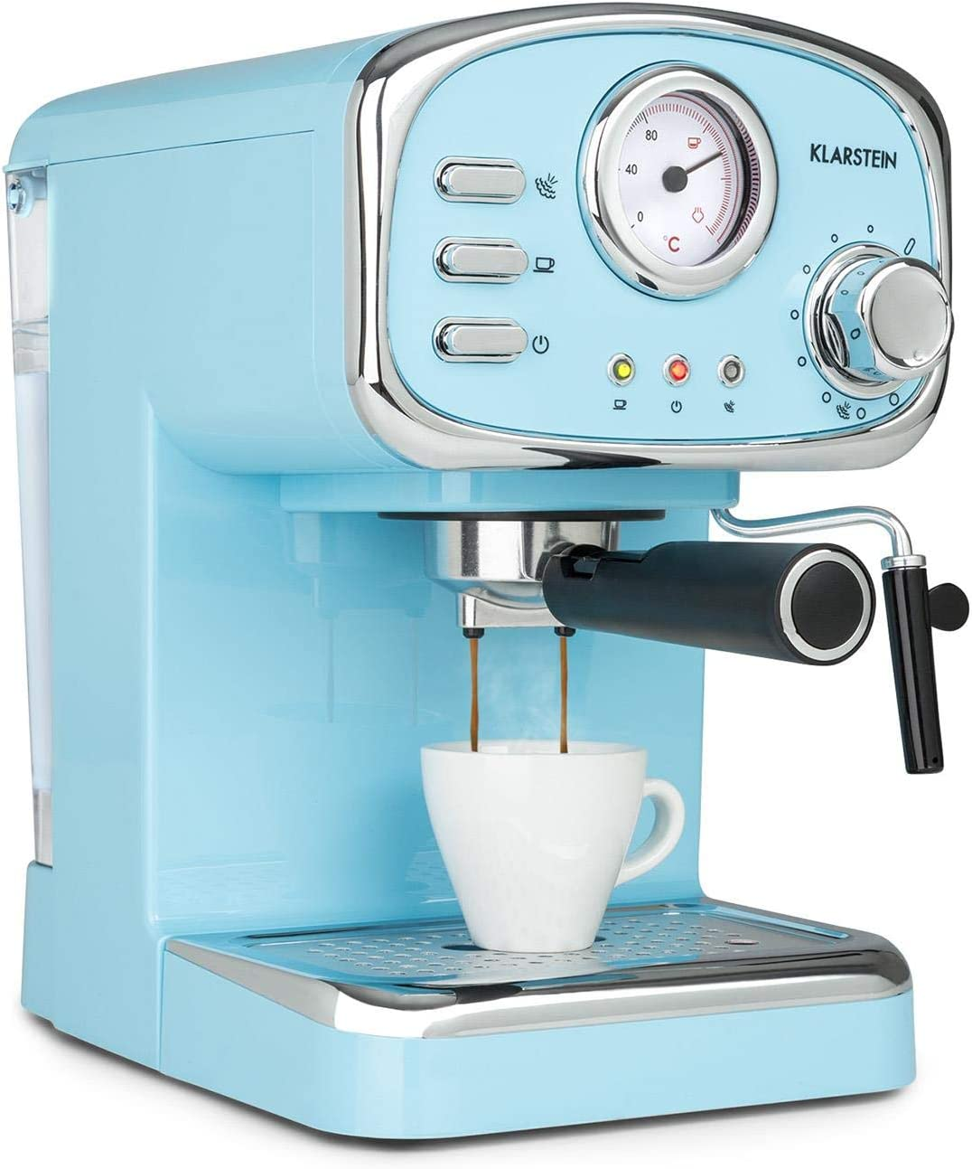 Klarstein Espressionata Gusto - Cafetera espresso, Rejilla acero inoxidable extraíble, EasyBrewing, Boquilla móvil para espuma y agua caliente, Depósito 1L, 1100W, 15 bar de presión, Azul