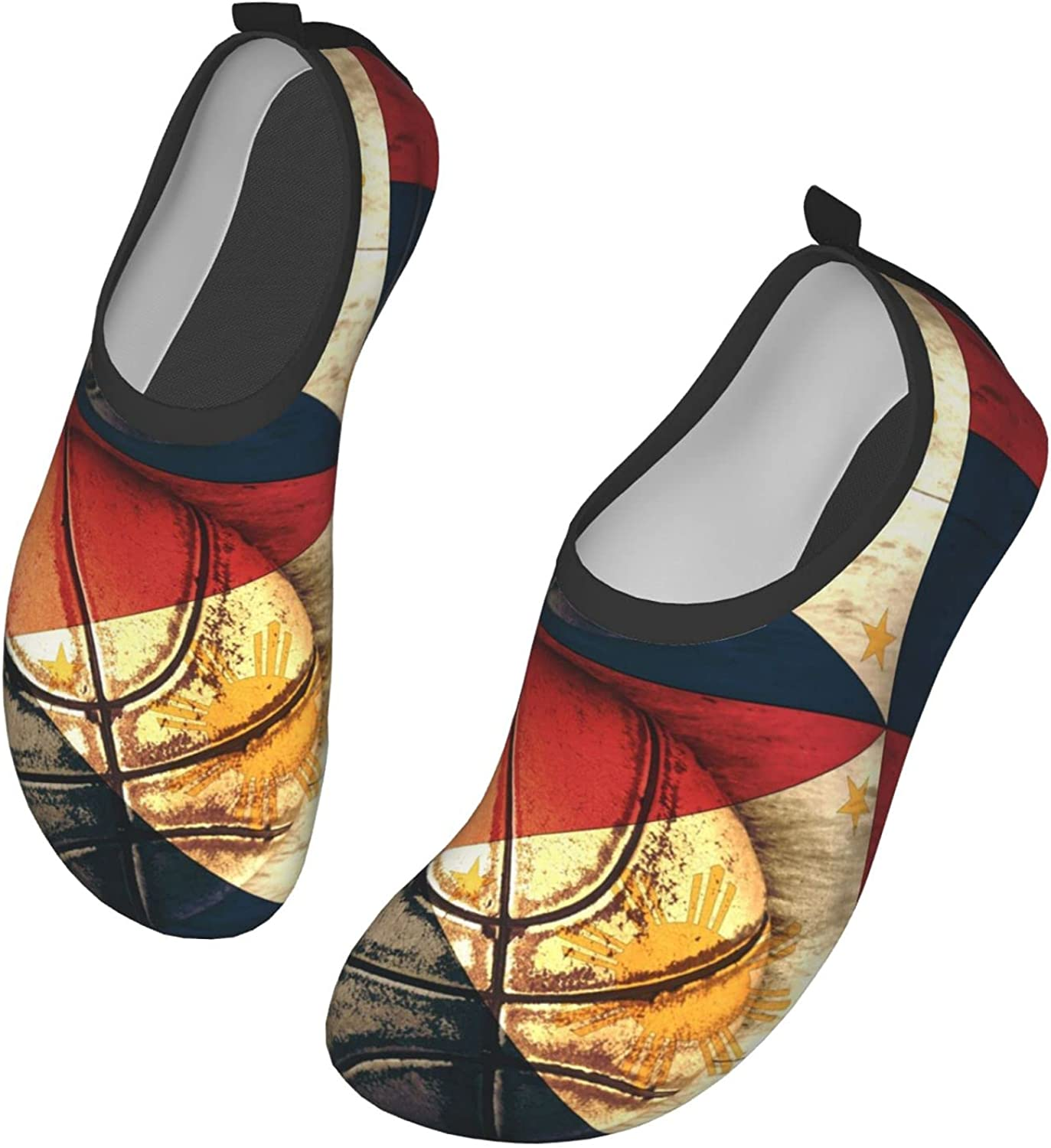 DISGOWONG Flag of The Philippines and Basketball Ball Water Shoes Outdoor Quick-Dry Aqua Yoga Socks for Women and Men Beach Swim Sports Beach Pool Shoes 17 inch