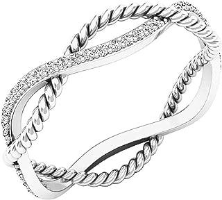 0.20 Carat (ctw) 10K Gold Round Diamond Ladies Anniversary Infinity Rope Wedding Band 1/5 CT