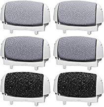 6 Pack Replacement Rollers Heads For Pritch 1138 A Electric Feet File Pedicure Tools, 2 Extra Coarse,2 Regular Coarse,2 Li...