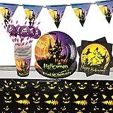 Yisscen Partygeschirr Set, 52 Stück Kindergeburtstag Tischdeko Halloween Deko Set enthält Papptelle Pappbecher Strohhalme Banner Servietten Tischdecke Halloween Tableware(Bietet Platz für 10 Gäste)