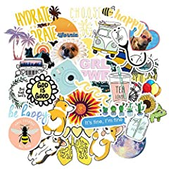 There are 50 different stickers in each pack. Compliments and good mood are guarantee! Perfect Size: Multiple sizes of stickers can be pasted in different places(2 - 4 in). All Cute stickers made by high quality of vinyl. Suitable to your water bottl...