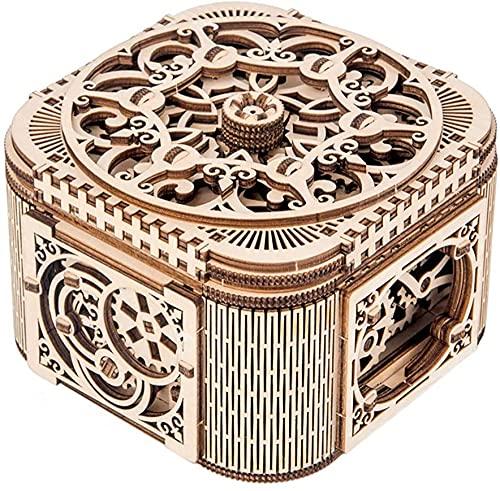 BERTY·PUYI Rompecabezas 3D Caja de Madera, Modelos mecánicos Caja del Tesoro Almacenamiento de Joyas Idea de Bricolaje Regalos para cumpleaños Navidad