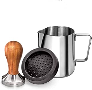 Santo Wood Espresso Tamper 51mm, Coffee Tamper with Sandalwood Handle, Incl. Free Milk Frothing Pitcher 12oz/350ml, Espres...