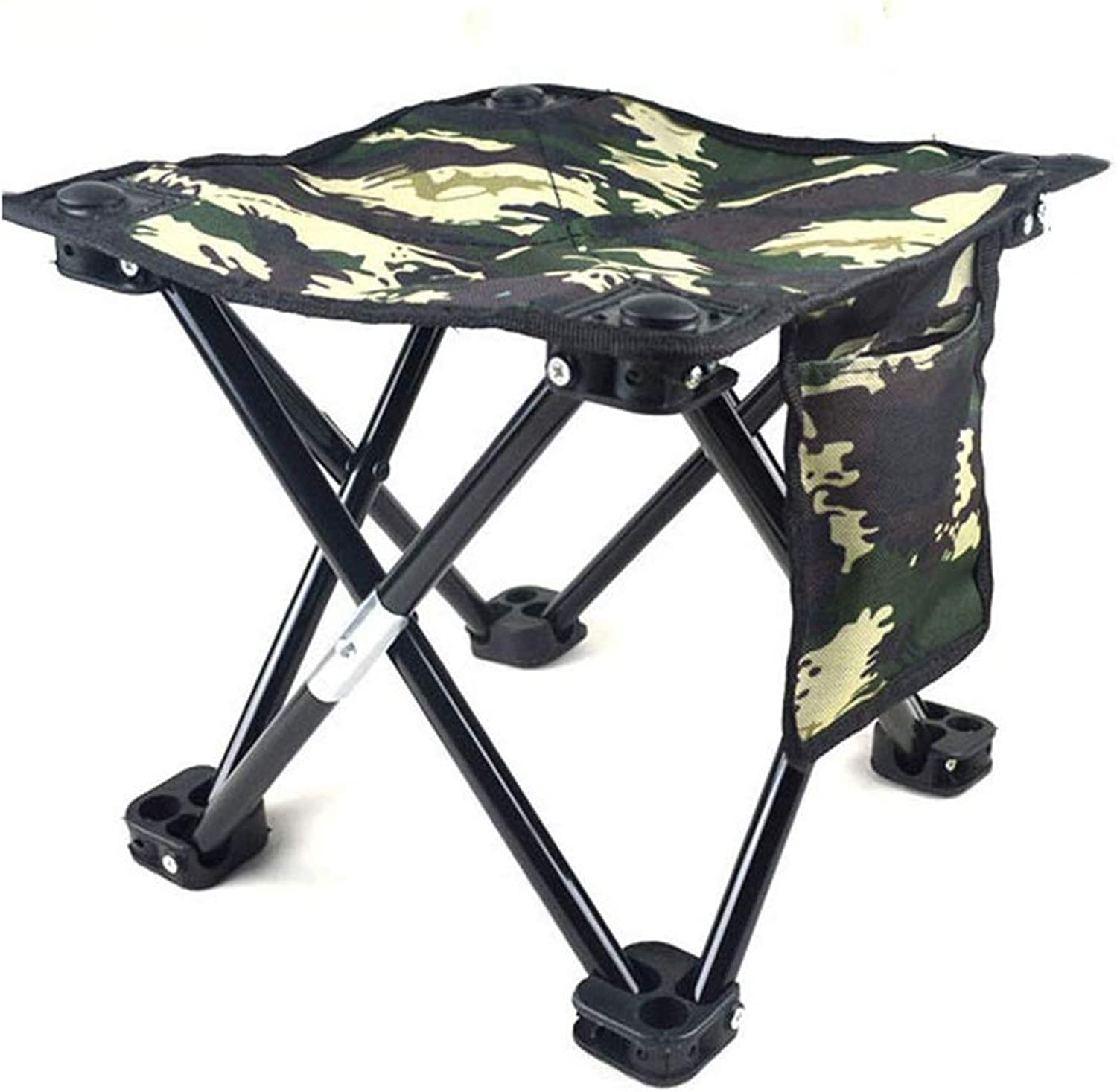 Folding Chair, Camping Outdoor Fishing High Capacity Support 300 Lbs Camping Folding Steel Frame Breathable Chair Portable Camouflage Green