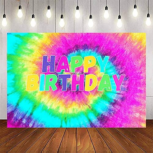 Avezano Tie Dye Happy Birthday Backdrop 60's Hippie Theme Party Decorations Groovy Sign Colorful Rainbow Photo Background Children Kids Portrait Photoshoot Dessert Table Banner (7x5ft)