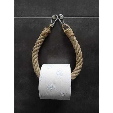 Solenzo - Dérouleur papier toilette vintage - porte serviette - corde - style industriel - FABRICATION FRANCAISE
