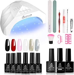 Beetles Gel Nail Polish Starter Kit with UV Light 48W LED Nail Lamp - 6 Color Gel Polish Set with Black Red White, 15ml Gel Base and Top Coat, Professional Manicure Tool Nail Kit for Salon or DIY Home