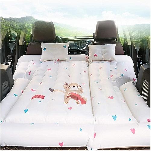 Matelas d'air de Voiture, 164  132cm SUV Gonflable Voiture Voyage Lit Camping Réglable Air Couverture De Siège Seat Oreiller Flocage Tissu Ventiler Extérieur Air Matelas