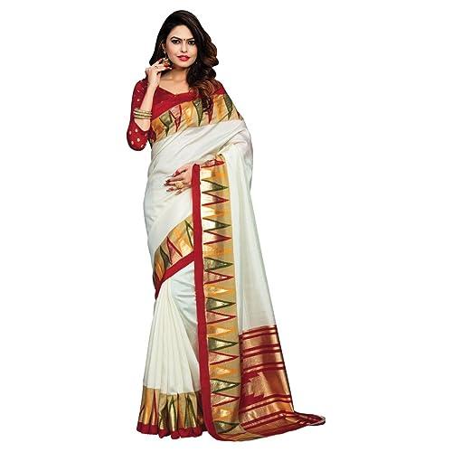 4c7253ddf3 Craftsvilla Silk Saree With Blouse Piece (MCRAF73130926570_White_Free Size)
