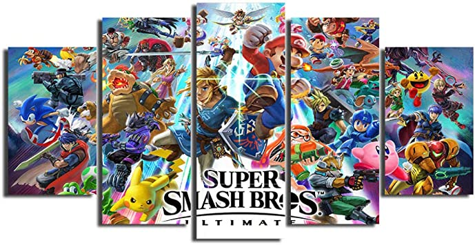 : 30cmx150cm Fashion Canvas Painting Super Smash Bros Ultimate Update Art Video Game Poster Cartoon Pictures Artwork Paintings Wall Art for Home Decor Size Inch