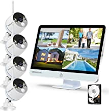 YESKAMO Long Range Wireless Outdoor Home Security Camera System with 16inch 1080p IPS Monitor 2TB Hard Drive [Floodlight &...