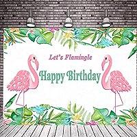 フラミンゴの女の子の誕生日パーティーの写真スタジオブースの背景春の水彩画のカラフルな花鳥イースターベビーシャワーパーティー写真の背景バナーケーキテーブル用品