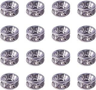 PandaHall Elite 20 Pcs Flat Round 316 Stainless Steel Crystal Rhinestone Bead Spacers Size 6x3mm