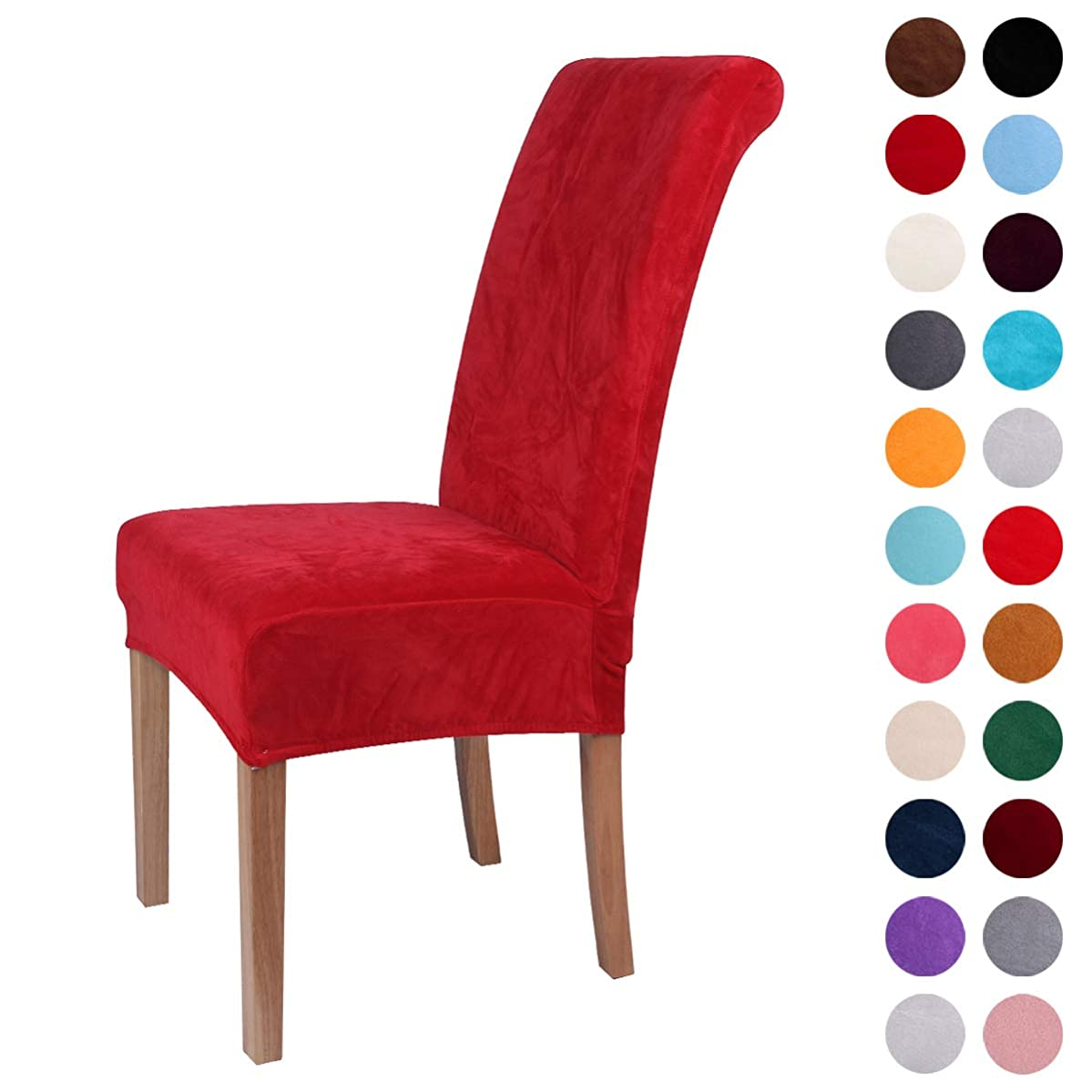 Colorxy Velvet Spandex Fabric Stretch Dining Room Chair Slipcovers Home Decor Set of 4, Red