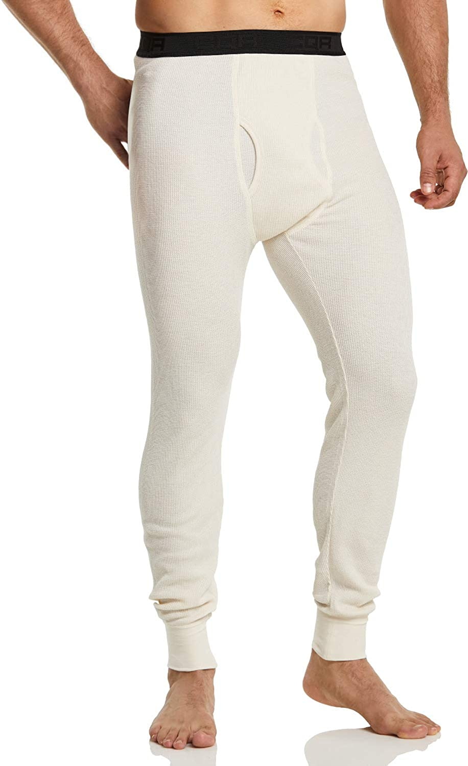 CQR 1 or 2 Pack Men's Thermal Underwear Pants, Midweight Waffle Knit Long Johns, Winter Cold Weather Thermal Bottoms with Fly