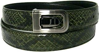 "Men`s Olive Green 1.25"" Wide Bonded Snakeskin Belt with Stylish Buckle"